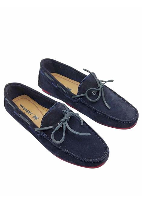 Men's Shoes Daytona Loafers in Blue Suede with Leather Laces and Rubber Sole with Studs Wrangler | Mocassins | WM11191A002