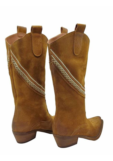 Women's Shoes Texan Boots in Leather Suede with Side Band and Heel and Bottom in Leather Zoe | Boots | APACHE03014