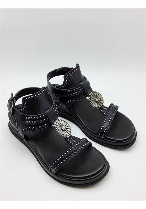 Women's Shoes Sandals in Black Leather with Studs and Ankle Strap Ultra Light Wedge Zoe | Sandals | CHEYENNE02001