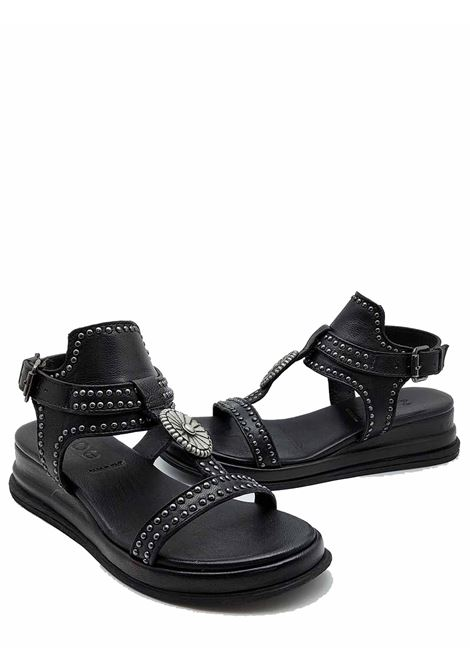 Women's Shoes Sandals in Black Leather with Studs and Ankle Strap Ultra Light Wedge Zoe   Wedge Sandals   CHEYENNE02001