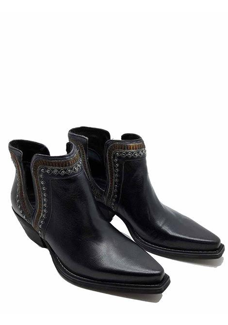 Calzatura Donna Stivaletti Ankle Boot Texani In Pelle Nera Con Ricami Zoe | Stivaletti | NEZ01001