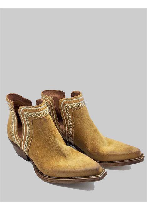 Calzatura Donna Stivaletti Ankle Boots Texani In Camoscio Camel Con Ricami Zoe | Stivaletti | NEZ01014