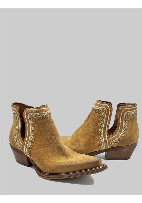 Women's Shoes Texan Ankle Boots In Camel Suede With Embroidery Zoe | Ankle Boots | NEZ01014