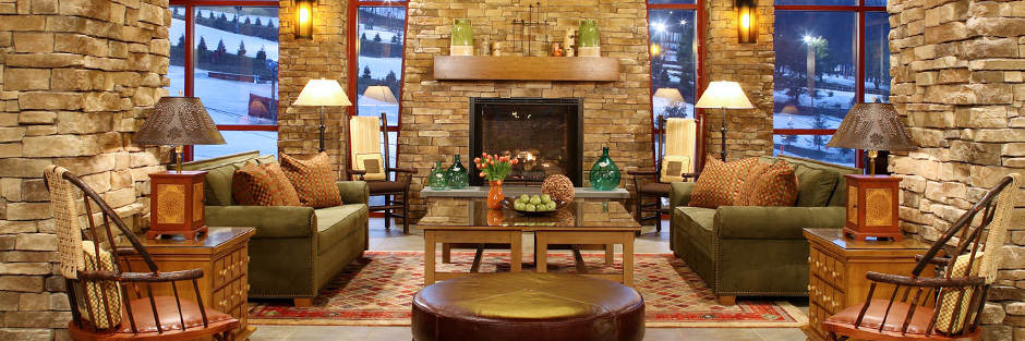 Bear creek mountain resort and conference center lobby fireplace hero