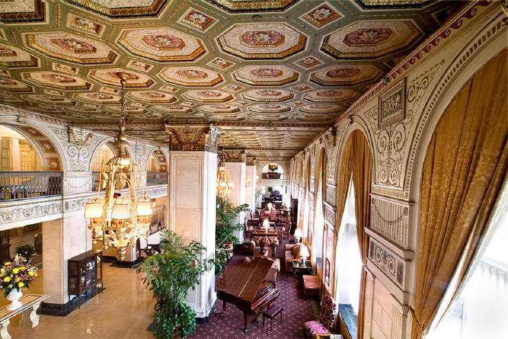 Brown hotel lobby above view hpg