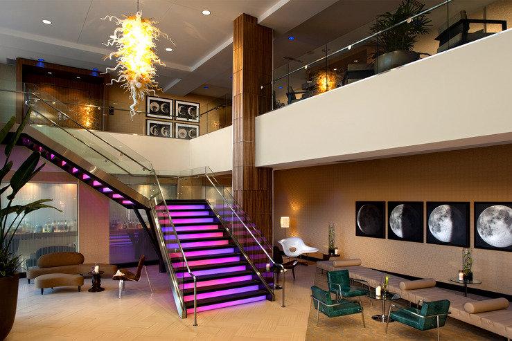 Moonrise hotel lobby stairs magenta hpg