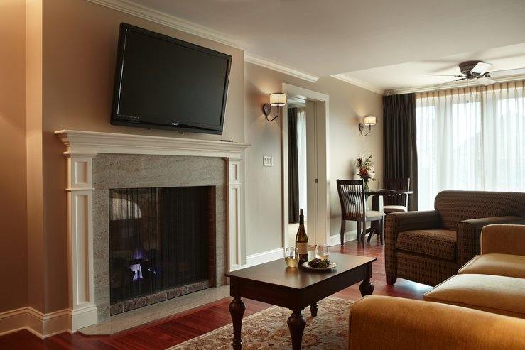 The portland regency hotel and spa governor suite living area fireplace hpg