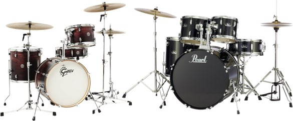 A Gretsch Catalina Club drum set and a Pearl Roadshow drum set.