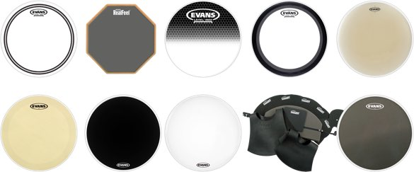 Various Evans drumheads and practice tools