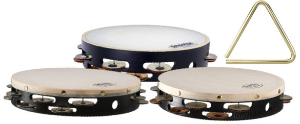 Various Grover professional tambourines and a 6 inch bronze triangle