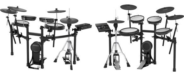 Front and back views of Roland TD-17KVX electronic drum set