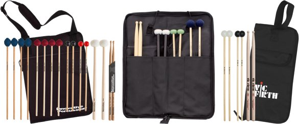 Various stick, mallet, and bag pre-packs.