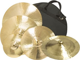 Various Weiss cymbals and bag