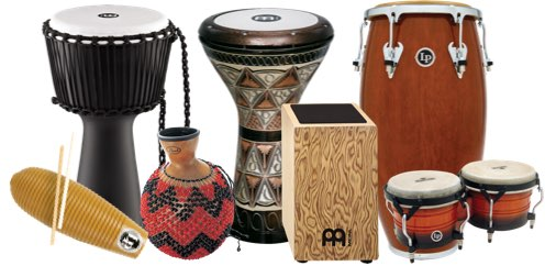 Various world percussion instruments.