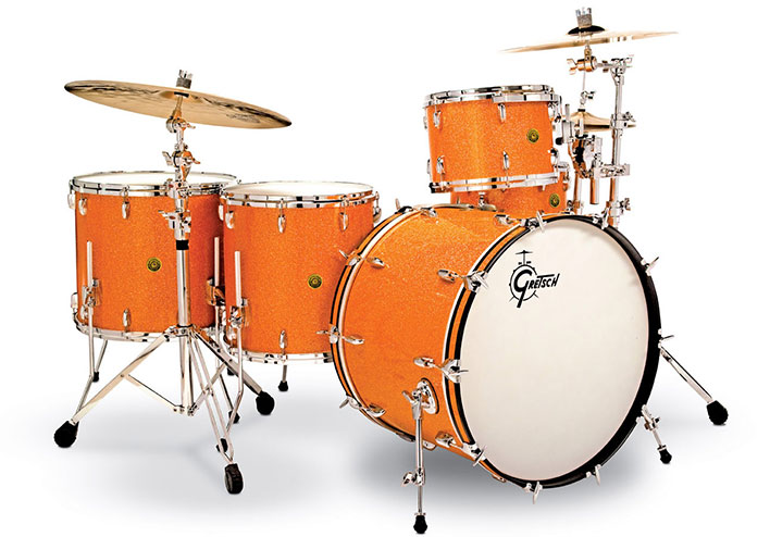Gretsch USA Custom drum set in Gold Glass.