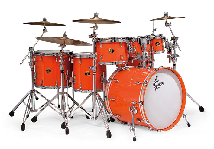 Gretsch USA Custom drum set in Gretsch Orange.
