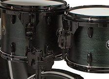 Gretsch USA Custom drum hardware in black.