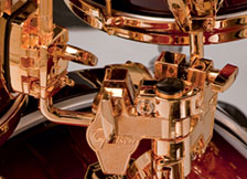 Gretsch USA Custom drum hardware in gold.