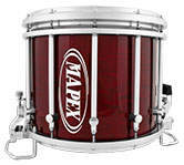 Transparent Cherry Red Mapex custom marching finish.