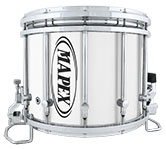Gloss Chrome Mapex custom marching hardware finish.