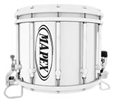 White Mapex custom marching hardware finish.