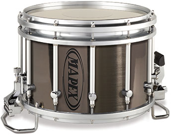Mapex Quantum Marching Agility snare drum with grey steel fad finish.