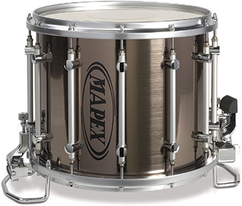 Mapex Quantum Marching HT snare drum with grey steel fad finish.