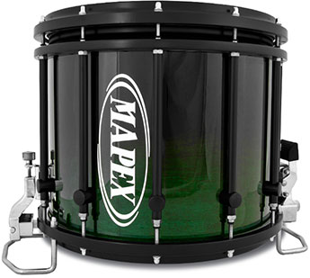 Mapex Quantum Marching XT snare drum with black forest fad finish.