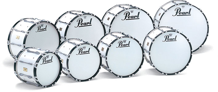 Pearl marching bass drums in assorted sizes.