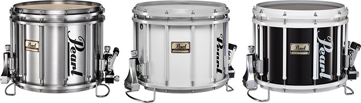 3 Pearl marching snare drums in brushed silver, white, and black finish.