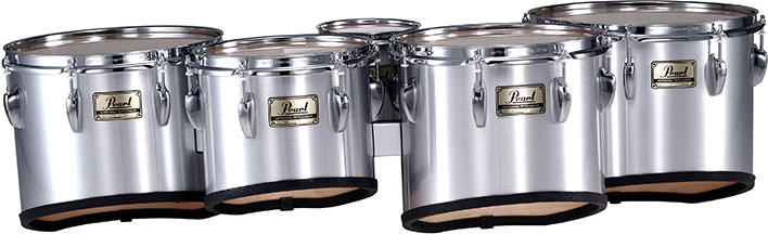 Pearl marching quints in brushed silver finish.
