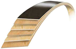 Pearl marching bass drum shell cross-section.