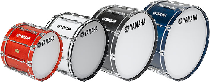 4 Yamaha 8200 series bass drums in various sizes and colors.