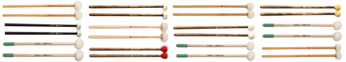 Various pairs of JGPercussion timpani mallets