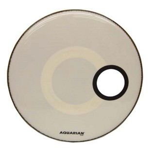 "aquarian regulator front bass drum head - white with 4.75"" hole"