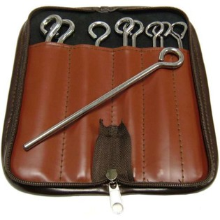 weiss triangle beater set - 10 steel w/ brown leather case