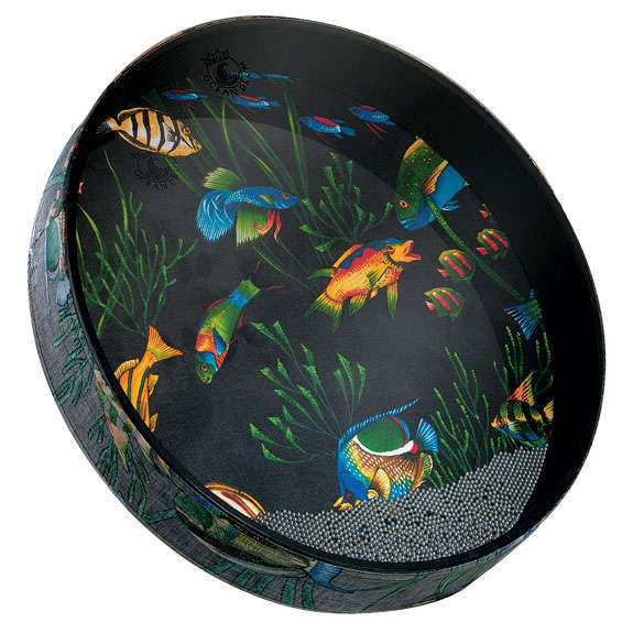 remo ocean drum with fish graphics hand drums world percussion steve weiss music. Black Bedroom Furniture Sets. Home Design Ideas