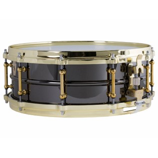 ludwig black beauty brass snare drum with tube lugs - 14x6.5