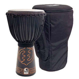 "toca 12"" african black mamba rope tuned djembe with bag"