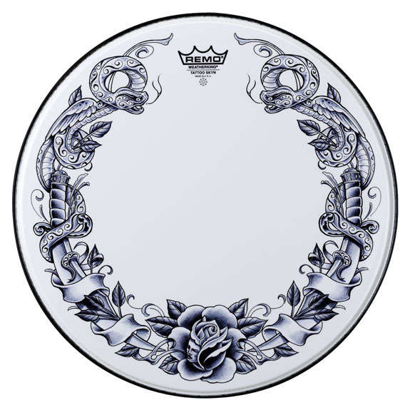 remo tattoo skyn serpent rose on white bass drum head 22 bass drum heads drum set drum. Black Bedroom Furniture Sets. Home Design Ideas