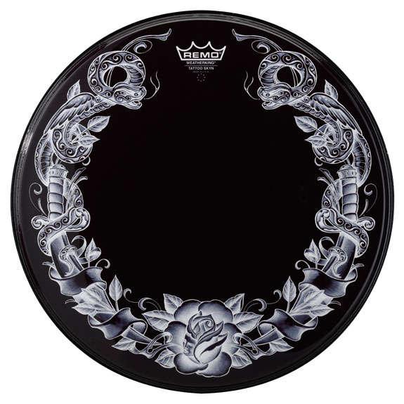 remo tattoo skyn serpent rose on black bass drum head 22 bass drum heads drum set drum. Black Bedroom Furniture Sets. Home Design Ideas