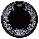 remo tattoo skyn serpent rose on black bass drum head - 22""
