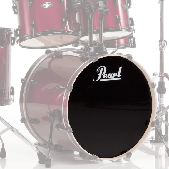 pearl ebony logo front bass drum head bass drum heads drum set drum heads steve weiss music. Black Bedroom Furniture Sets. Home Design Ideas