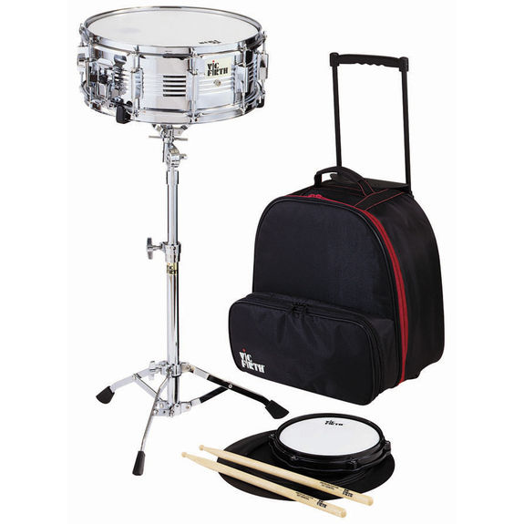 Vic firth snare drum kit with wheeled bag educational for Yamaha student bell kit with backpack and rolling cart
