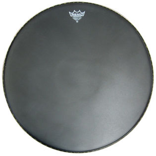 remo powermax marching bass drum head - black suede