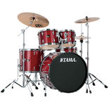 "tama imperialstar 5 piece complete drum set with 22"" bass drum - hardware and meinl hcs cymbals"