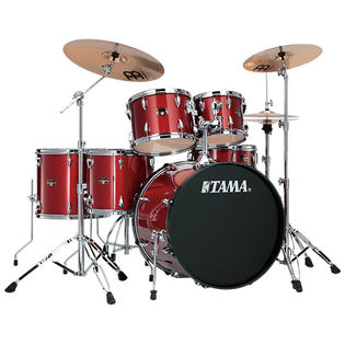 "tama imperialstar 6-piece drum set with hardware and meinl hcs cymbals - 22"" bass drum"