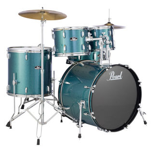 "pearl roadshow 5 piece drum set with hardware and cymbals - 22"" bass drum"