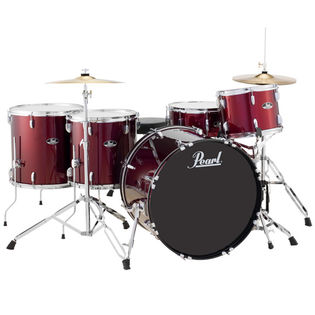 "pearl roadshow 5 piece rock drum set with hardware and cymbals - 22"" bass drum"