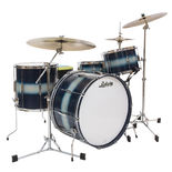 "ludwig club date vintage super classic shell pack - silver/blue duco with 22"" bass drum"
